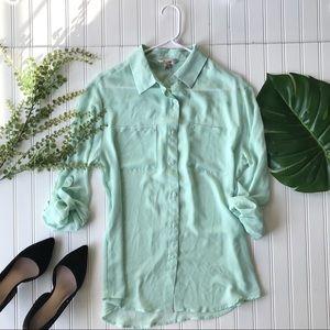 Mint green blouse semi sheer button up top